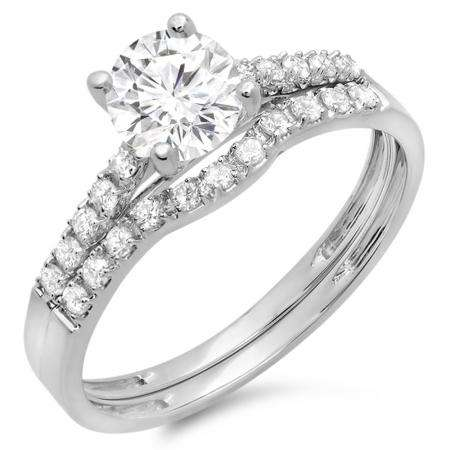 1.25 Carat (ctw) 18K White Gold Round White Diamond Ladies Bridal Engagement Ring Matching Band Wedding Sets 1 1/4 CT