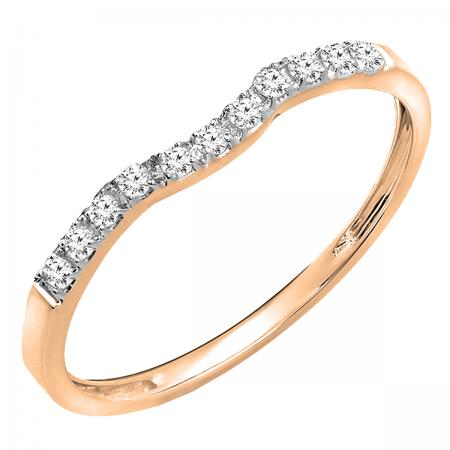 0.15 Carat (ctw) 10K Rose Gold Round Cut Diamond Ladies Anniversary Wedding Stackable Contour Guard Band