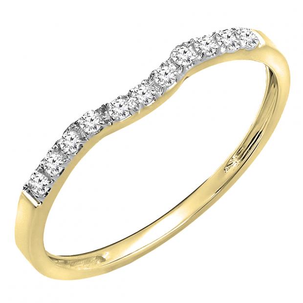 0.15 Carat (ctw) 10K Yellow Gold Round Cut Diamond Ladies Anniversary Wedding Stackable Contour Guard Band