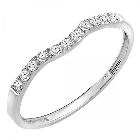 0.15 Carat (ctw) 18K White Gold Round Cut Diamond Ladies Anniversary Wedding Stackable Contour Guard Band
