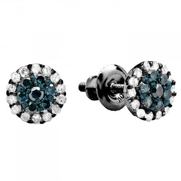 0.30 Carat (ctw) Black Rhodium Plated 14k White Gold Blue & White Diamond Ladies Cluster Flower Stud Earrings 1/3 CT