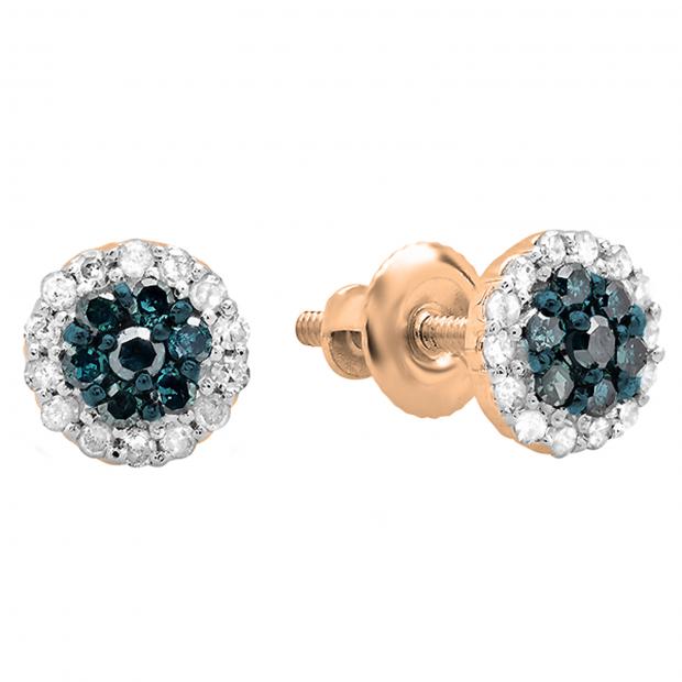 0.30 Carat (ctw) 14k Rose Gold Blue & White Diamond Ladies Cluster Flower Stud Earrings 1/3 CT