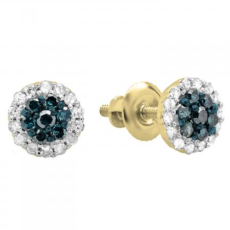 0.30 Carat (ctw) 18K Yellow Gold Blue & White Diamond Ladies Cluster Flower Stud Earrings 1/3 CT