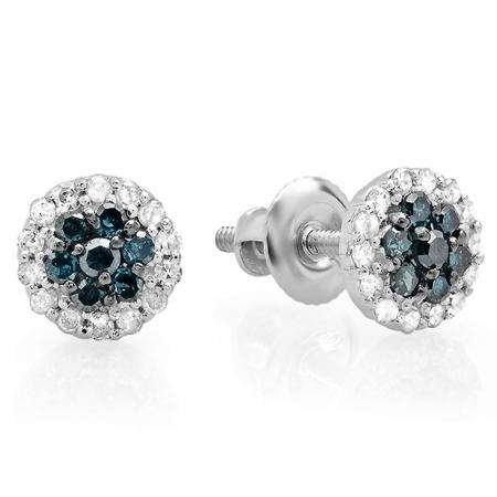 0.30 Carat (ctw) 10k White Gold Blue & White Diamond Ladies Cluster Flower Stud Earrings 1/3 CT