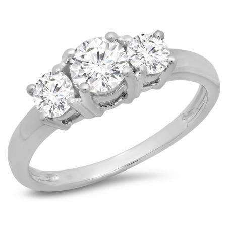 1.00 Carat (ctw) 10k White Gold Round Cut Diamond Ladies 3 Stone Bridal Engagement Ring 1 CT