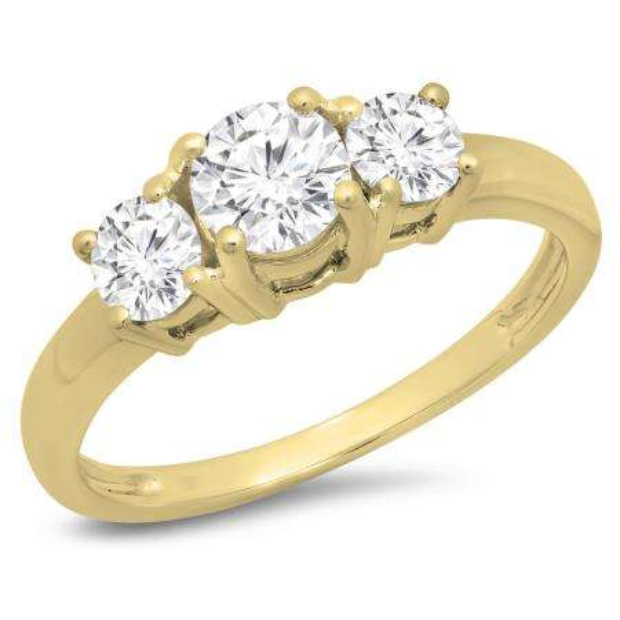 1.00 Carat (ctw) 14k Yellow Gold Round Cut Diamond Ladies 3 Stone Bridal Engagement Ring 1 CT