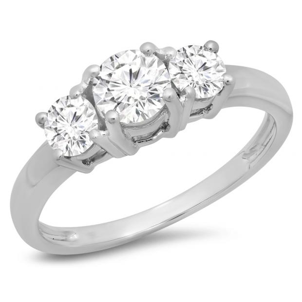 1.00 Carat (ctw) 18k White Gold Round Cut Diamond Ladies 3 Stone Bridal Engagement Ring 1 CT