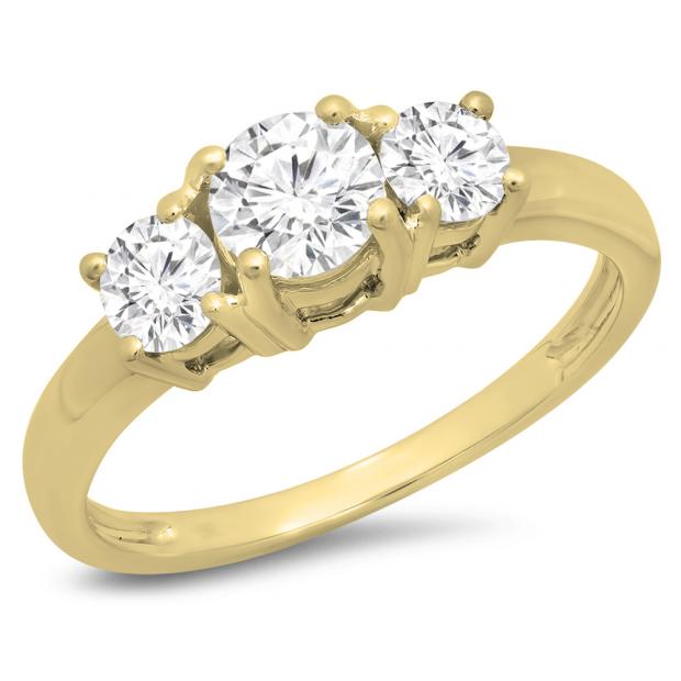 1.00 Carat (ctw) 18k Yellow Gold Round Cut Diamond Ladies 3 Stone Bridal Engagement Ring 1 CT