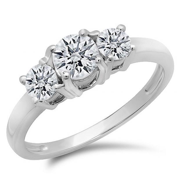 IGI CERTIFIED 1.03 Carat (ctw) 14K White Gold Round Cut Diamond Ladies 3 Stone Bridal Engagement Ring 1 CT