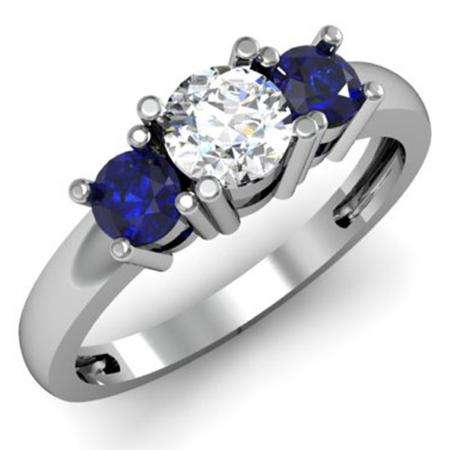 1.00 Carat (ctw) 10k White Gold Round White Diamond and Blue Sapphire Ladies 3 Stone Bridal Engagement Ring 1 CT