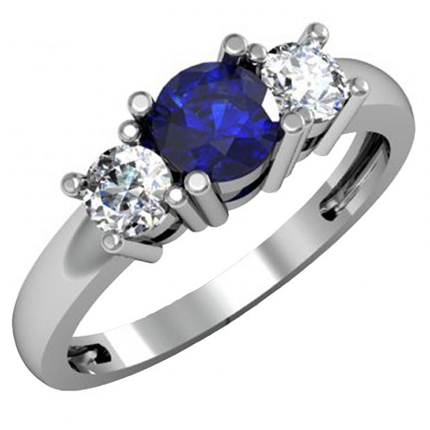 1.00 Carat (ctw) 10k White Gold Round Blue Sapphire and White Diamond Ladies 3 Stone Bridal Engagement Ring 1 CT