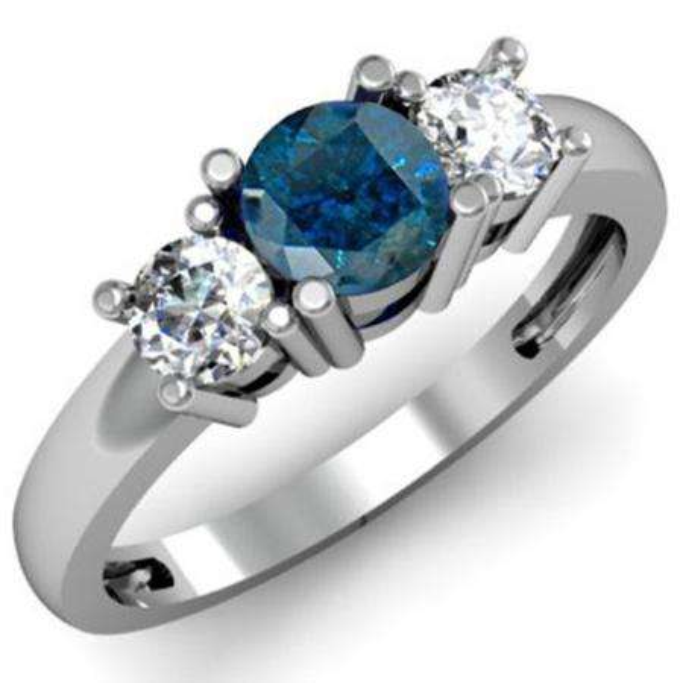 1.00 Carat (ctw) 14k White Gold Round Blue and White Diamond Ladies 3 Stone Bridal Engagement Ring 1 CT