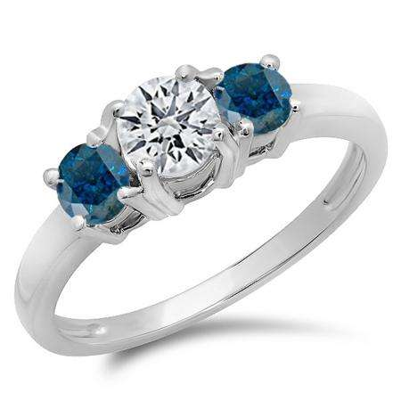 1.00 Carat (ctw) 10k White Gold Round White and Blue Diamond Ladies 3 Stone Bridal Engagement Ring 1 CT