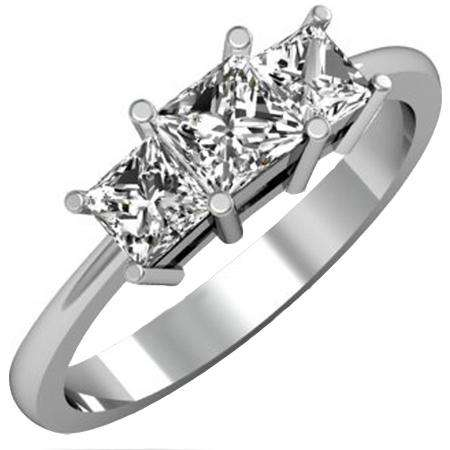 1.50 Carat (ctw) 14K White Gold Princess Cut White Cubic Zirconia Ladies Bridal 3 Stone Engagement Ring 1 1/2 CT