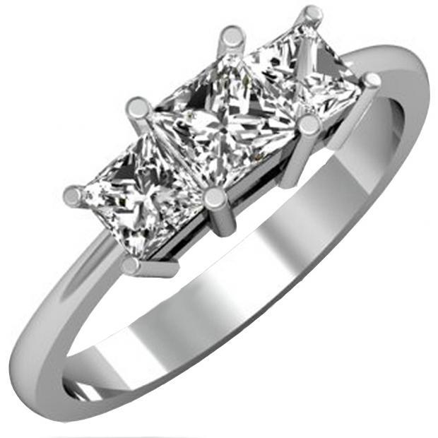 IGI CERTIFIED 1.01 Carat (ctw) 14K White Gold Princess Cut Diamond Ladies Bridal 3 Stone Engagement Ring 1 CT