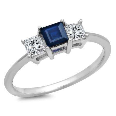 1.00 Carat (ctw) 10k White Gold Princess Cut Blue Sapphire and White Diamond Ladies Bridal 3 Stone Engagement Ring 1 CT