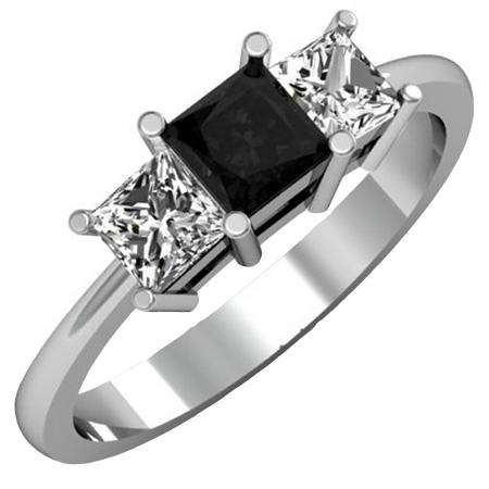 1.00 Carat (ctw) 18k White Gold Princess Cut Black and White Diamond Ladies Bridal 3 Stone Engagement Ring 1 CT