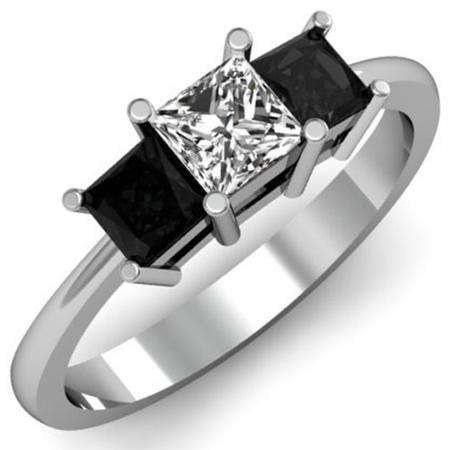 1.00 Carat (ctw) 14k White Gold Princess Cut White and Black Diamond Ladies Bridal 3 Stone Engagement Ring 1 CT