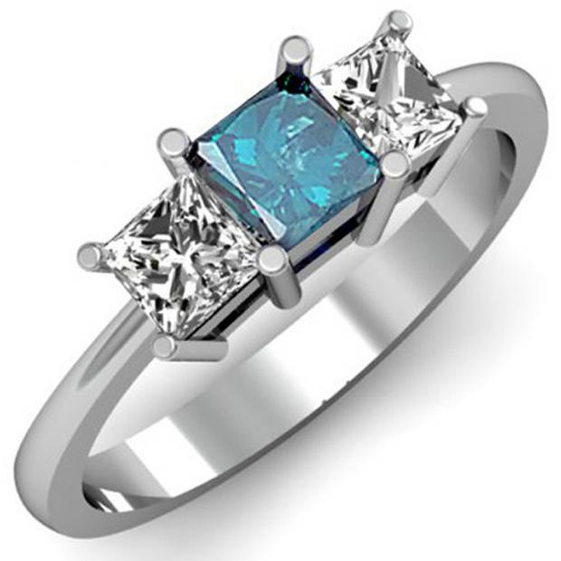 1.00 Carat (ctw) 10k White Gold Princess Cut Blue and White Diamond Ladies Bridal 3 Stone Engagement Ring 1 CT