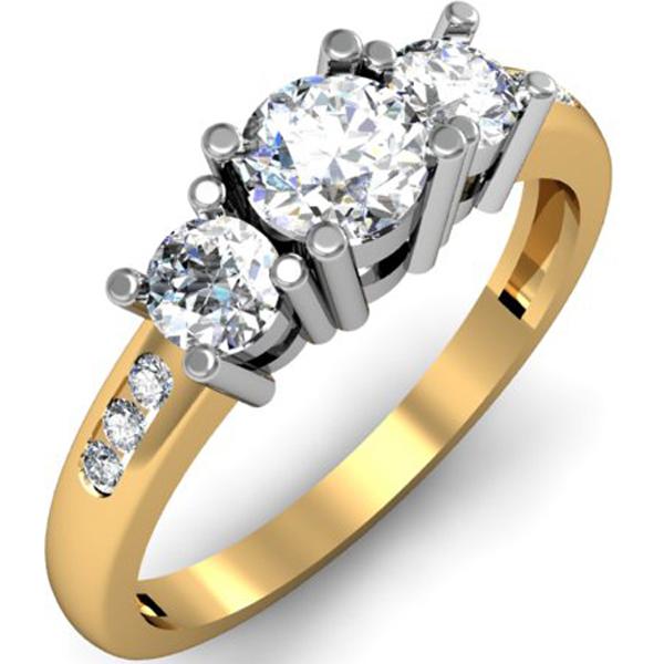 1.00 Carat (ctw) 14k Yellow Gold Round Diamond Ladies 3 Stone Engagement Bridal Ring 1 CT