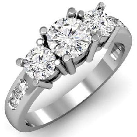 1.50 Carat (ctw) 14k White Gold Round Diamond Ladies 3 Stone Engagement Bridal Ring 1 1/2 CT