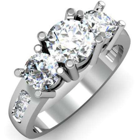 2.00 Carat (ctw) 10K White Gold Round Diamond Ladies 3 Stone Engagement Bridal Ring 2 CT