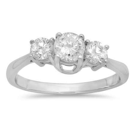 1.00 Carat (ctw) 18k White Gold Round Cut Diamond Ladies 3 Stone Bridal Engagement Ring 1 CT