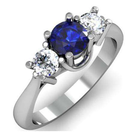 1.00 Carat (ctw) 14k White Gold Round Blue Sapphire and White Diamond Ladies 3 Stone Bridal Engagement Ring 1 CT