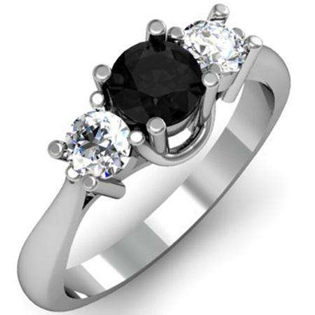 1.00 Carat (ctw) 14K White Gold Round Black and White Diamond Ladies 3 Stone Bridal Engagement Ring 1 CT