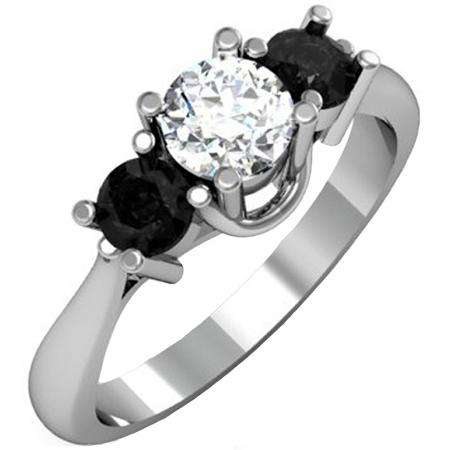 1.00 Carat (ctw) 14k White Gold Round White and Black Diamond Ladies 3 Stone Bridal Engagement Ring 1 CT