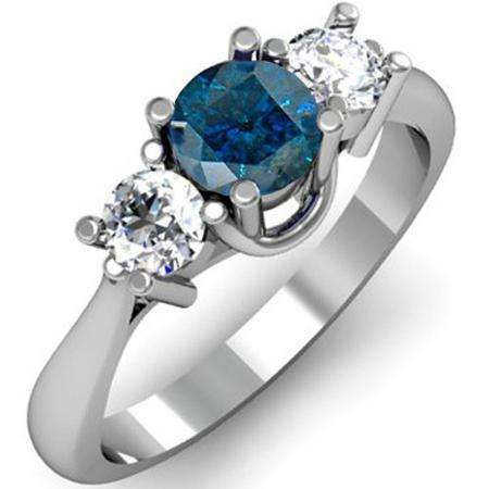 1.00 Carat (ctw) 10k White Gold Round Blue and White Diamond Ladies 3 Stone Bridal Engagement Ring 1 CT