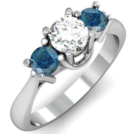 1.00 Carat (ctw) 14k White Gold Round White and Blue Diamond Ladies 3 Stone Bridal Engagement Ring 1 CT