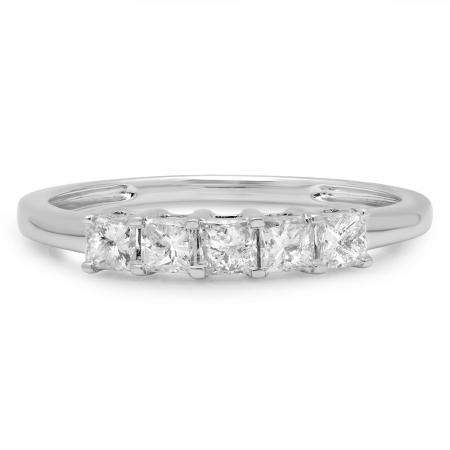0.50 Carat (ctw) 18k White Gold Princess Cut White Diamond Ladies 5 Stone Bridal Wedding Band Anniversary Ring 1/2 CT