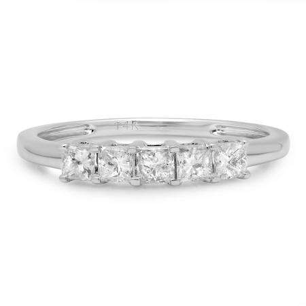 IGI CERTIFIED 0.57 Carat (ctw) 14K White Gold Princess Cut White Diamond Ladies 5 Stone Bridal Wedding Band Anniversary Ring 1/2 CT