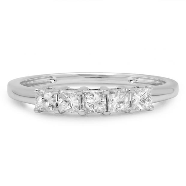 0.50 Carat (ctw) 14k White Gold Princess Cut White Diamond Ladies 5 Stone Bridal Wedding Band Anniversary Ring 1/2 CT