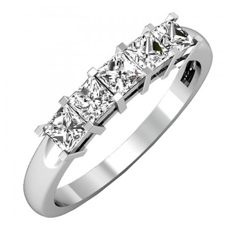 0.75 Carat (ctw) 14k White Gold Princess Cut White Diamond Ladies 5 Stone Bridal Wedding Band Anniversary Ring 3/4 CT