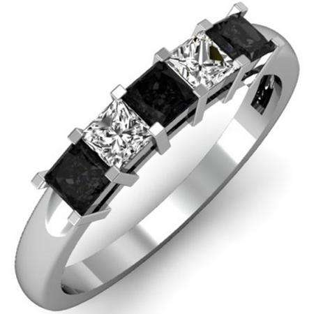 0.75 Carat (ctw) 10k White Gold Princess Cut Black and White Diamond Ladies 5 Stone Bridal Wedding Band Anniversary Ring 3/4 CT
