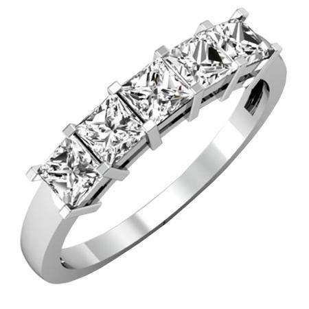 1.00 Carat (ctw) 18k White Gold Princess Cut White Diamond Ladies 5 Stone Bridal Wedding Band Anniversary Ring 1 CT