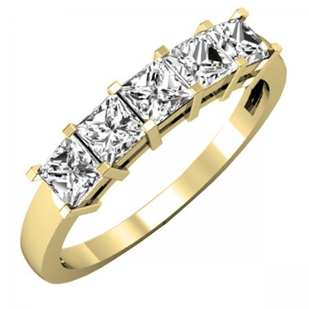 1.00 Carat (ctw) 18K Yellow Gold Princess Cut White Diamond Ladies 5 Stone Bridal Wedding Band Anniversary Ring 1 CT