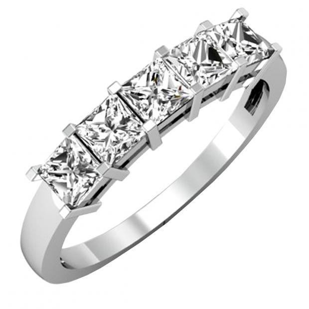 IGI CERTIFIED 1.01 Carat (ctw) 14K White Gold Princess Cut White Diamond Ladies 5 Stone Bridal Wedding Band Anniversary Ring 1 CT
