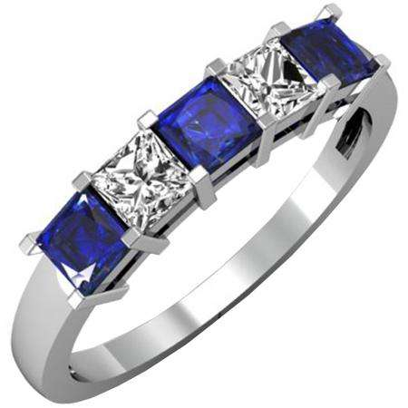 1.00 Carat (ctw) 18k White Gold Princess Cut Blue Sapphire and White Diamond Ladies 5 Stone Bridal Wedding Band Anniversary Ring 1 CT