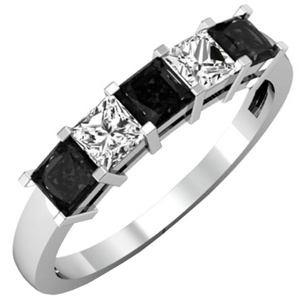 1.35 Carat (ctw) 10k White Gold Princess Cut Black and White Diamond Ladies 5 Stone Bridal Wedding Band Anniversary Ring