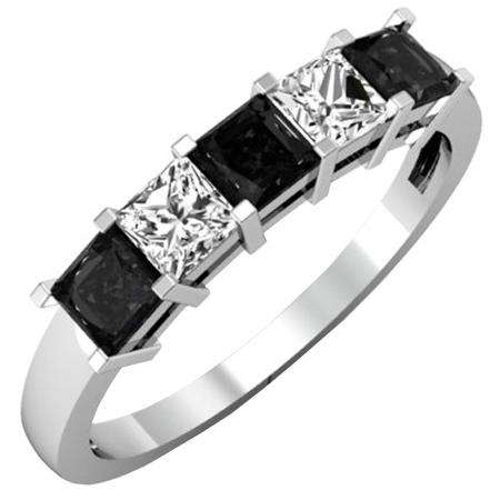 1.35 Carat (ctw) 18k White Gold Princess Cut Black and White Diamond Ladies 5 Stone Bridal Wedding Band Anniversary Ring