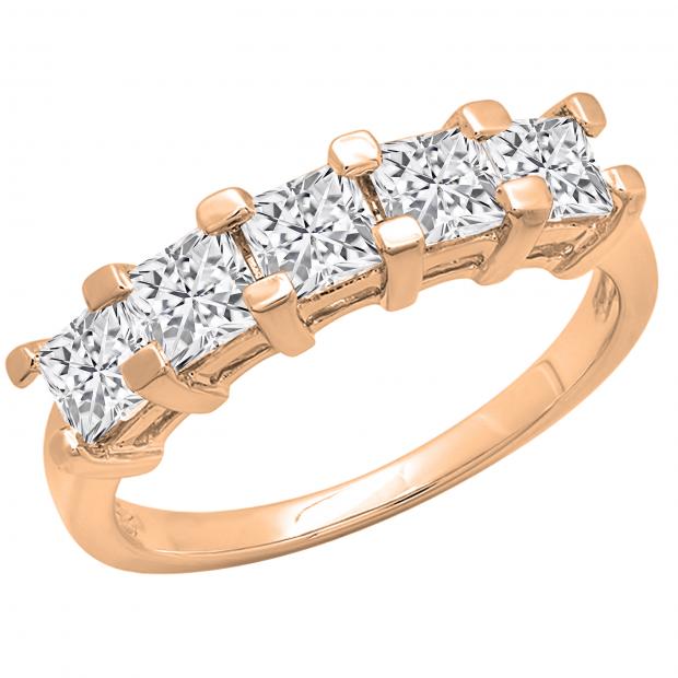 2.00 Carat (ctw) Princess White Diamond Ladies 5 Stone Wedding Ring 2 CT, 10K Rose Gold