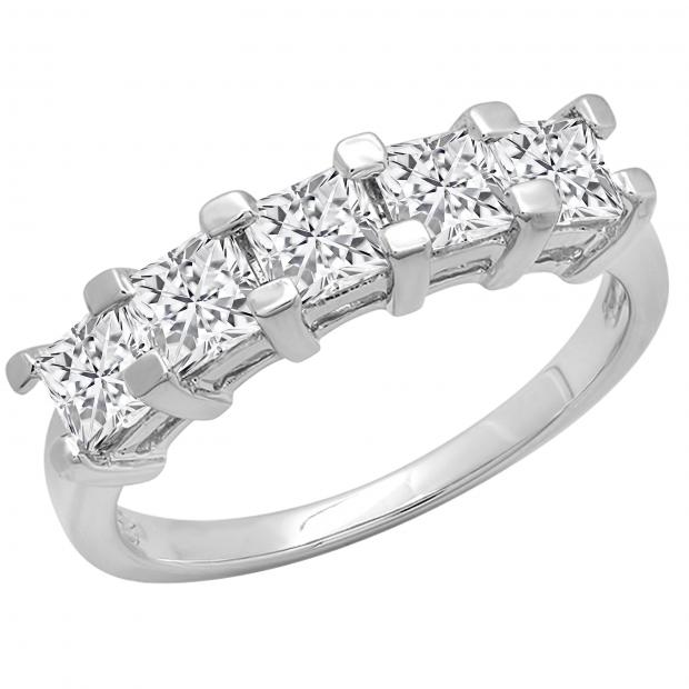 2.00 Carat (ctw) Princess White Diamond Ladies 5 Stone Wedding Ring 2 CT, 10K White Gold