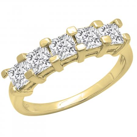 2.00 Carat (ctw) Princess White Diamond Ladies 5 Stone Wedding Ring 2 CT, 10K Yellow Gold