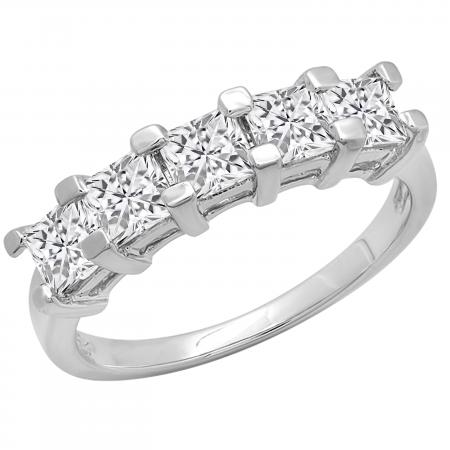 2.00 Carat (ctw) Princess White Diamond Ladies 5 Stone Wedding Ring 2 CT, 18K White Gold