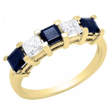 2.00 Carat (ctw) 14k Yellow Gold Princess Cut Blue Sapphire and White Diamond Ladies 5 Stone Bridal Wedding Band Anniversary Ring 2 CT