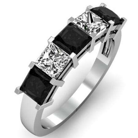 2.00 Carat (ctw) 18k White Gold Princess Cut Black and White Diamond Ladies 5 Stone Bridal Wedding Band Anniversary Ring 2 CT
