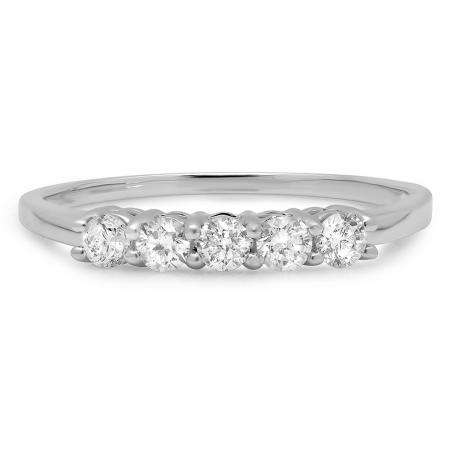 0.50 Carat (ctw) 10K White Gold Round White Diamond Ladies 5 Stone Bridal Wedding Band Anniversary Ring 1/2 CT